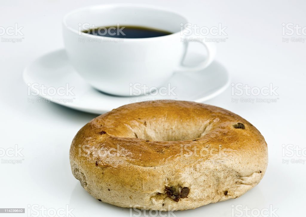 Cinnamon Raisin Bagel and Coffee royalty-free stock photo