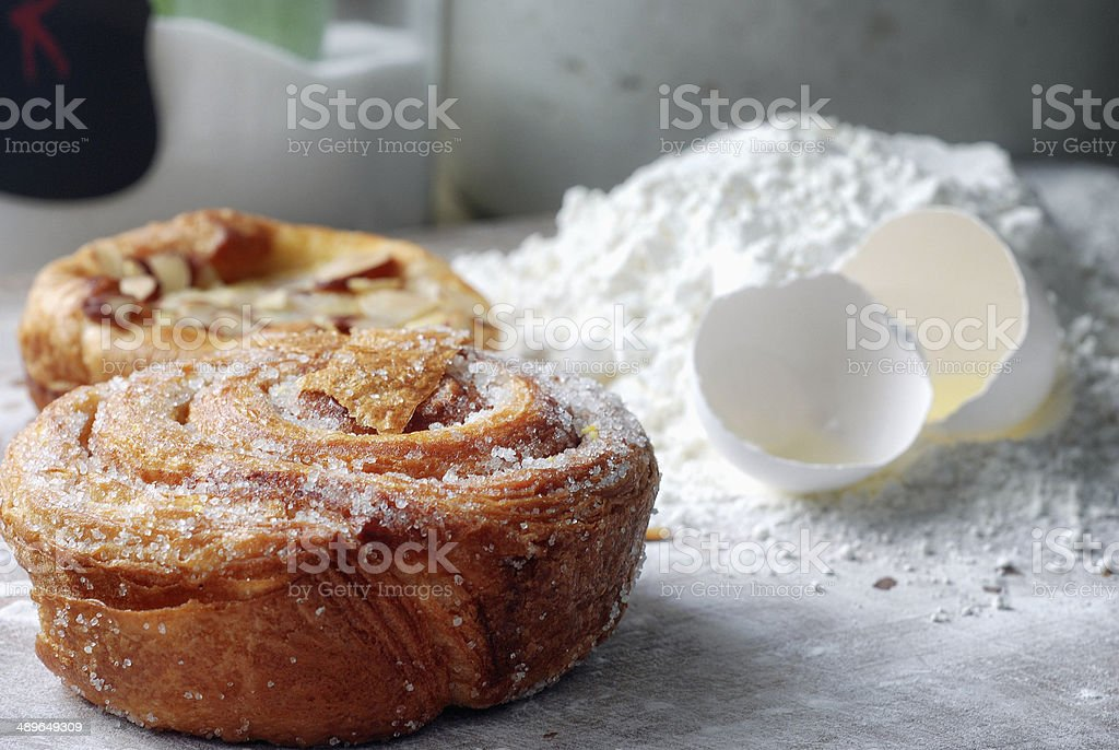 Cinnamon Roll in Bakery royalty-free stock photo
