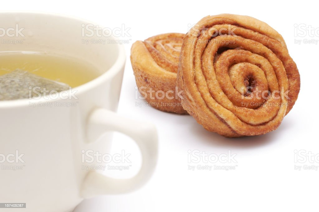 cinnamon rolls and tea royalty-free stock photo