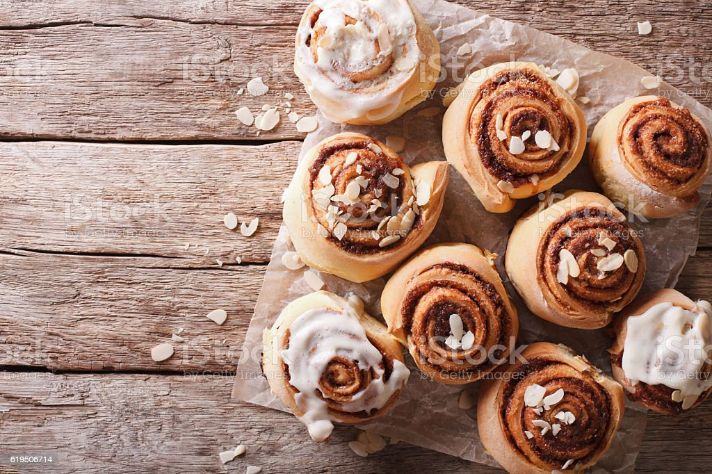 Cinnamon rolls on the table. horizontal top view stock photo