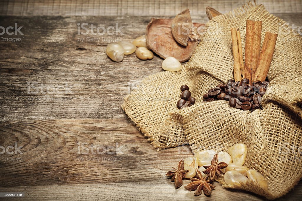 Cinnamon, star anise and coffee beans royalty-free stock photo