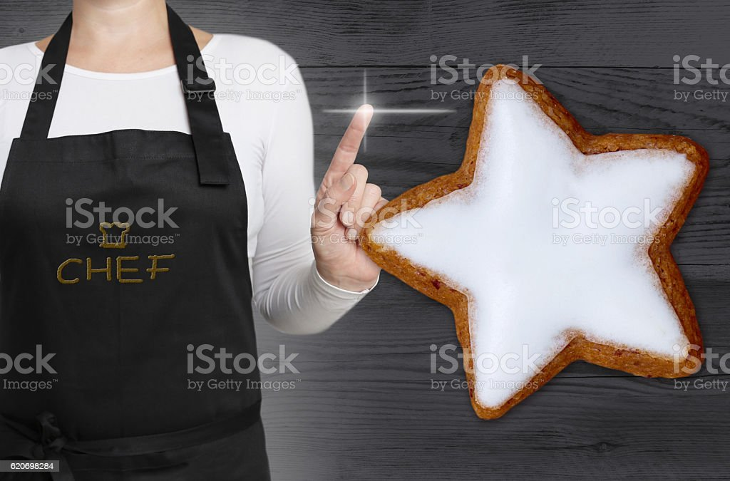 cinnamon star concept is shown by chef stock photo
