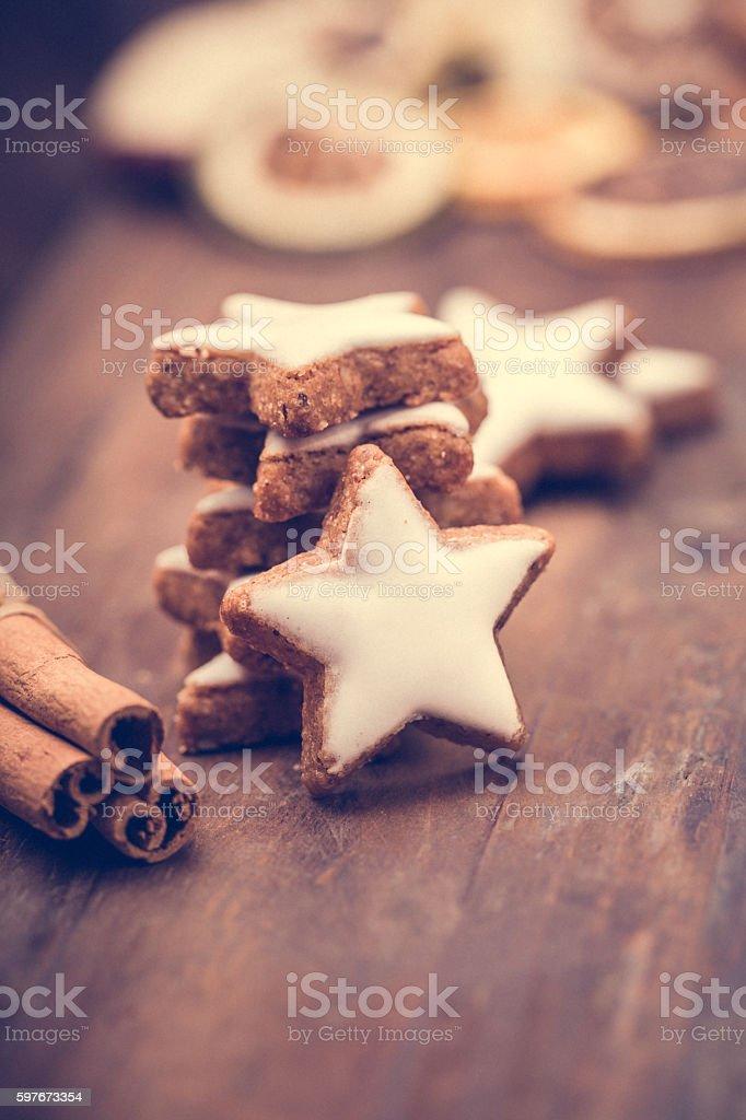 Cinnamon stars and cinnamon sticks stock photo