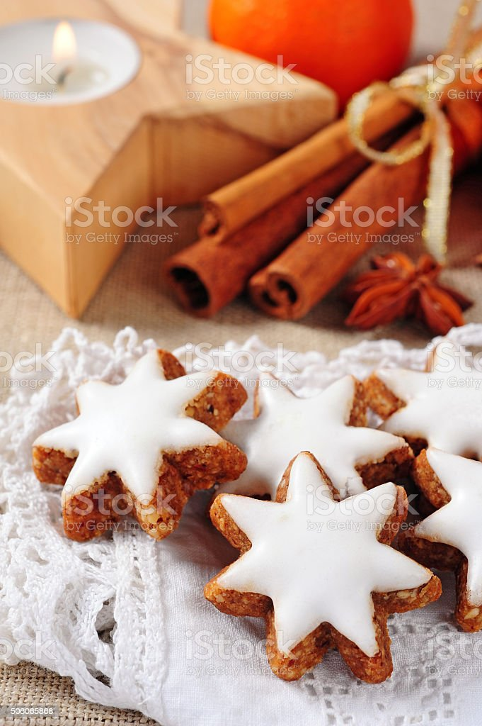 cinnamon stars biscuits stock photo