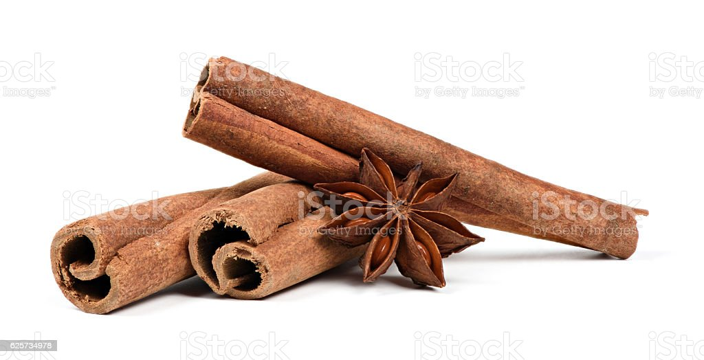 Cinnamon stick and Anise on white stock photo