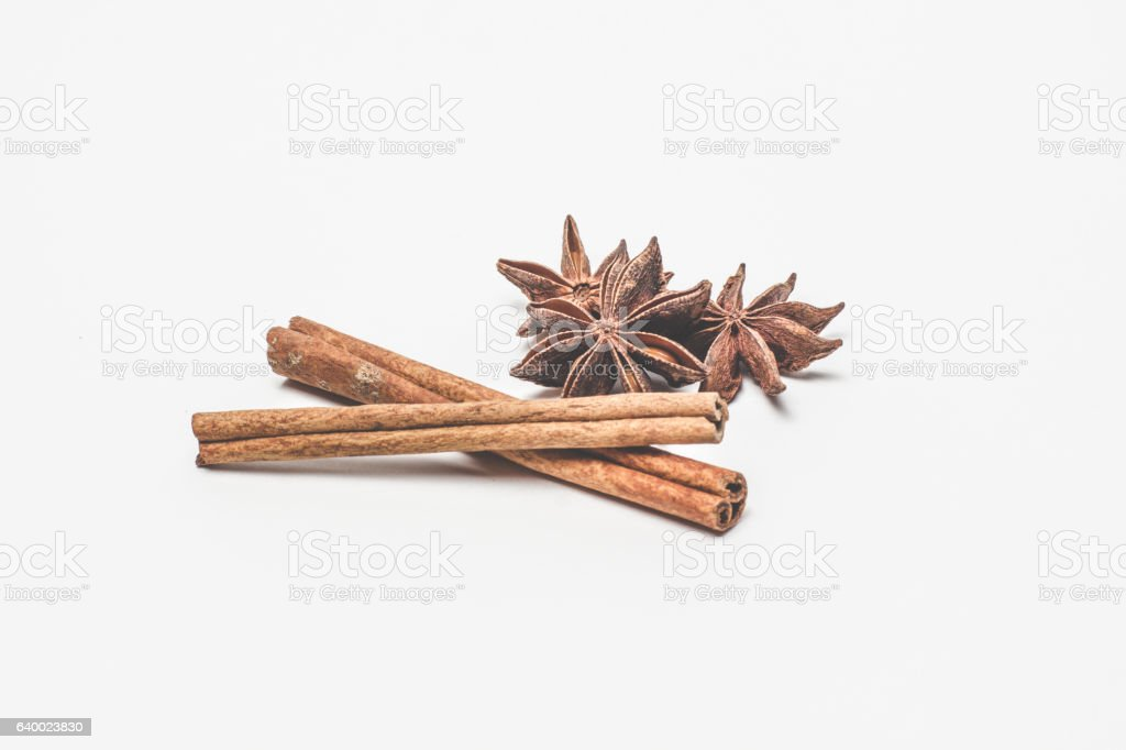 cinnamon stick and star anise spice isolated on white background stock photo