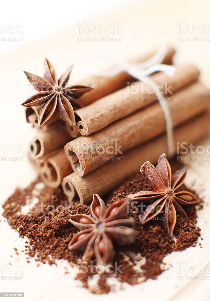 Cinnamon sticks and anise stars royalty-free stock photo