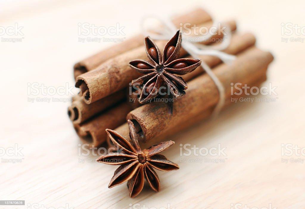 Cinnamon sticks and anise stars royalty-free stock photo