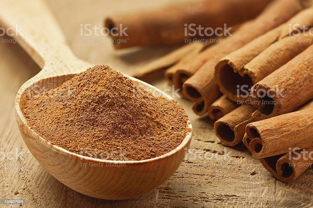 Cinnamon sticks and powder stock photo