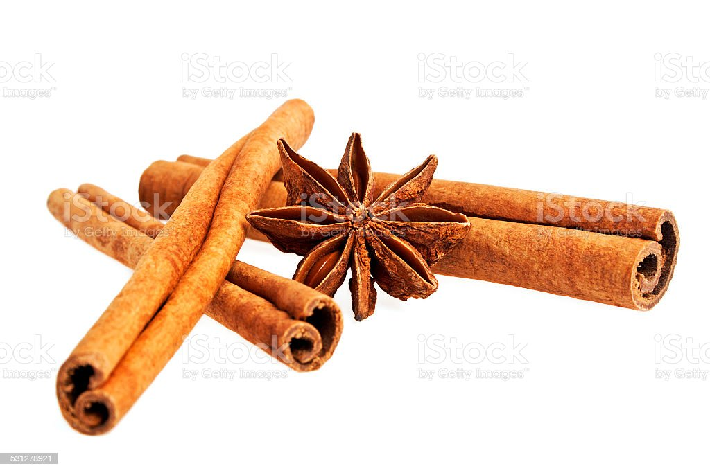 Cinnamon sticks and stars anise isolated on a white background stock photo
