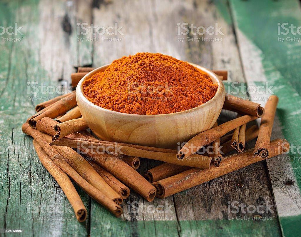 Cinnamon sticks  and  turmeric on wooden stock photo