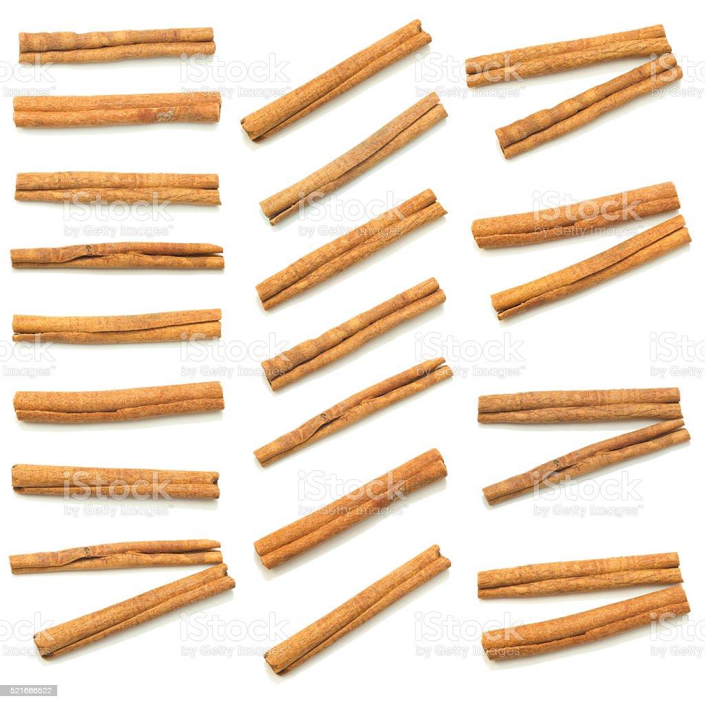 cinnamon sticks  spice isolated set stock photo