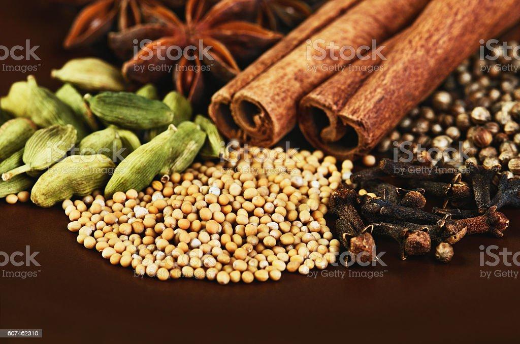 cinnamon sticks, stars anise, cardamom, clove, coriander, mustard stock photo