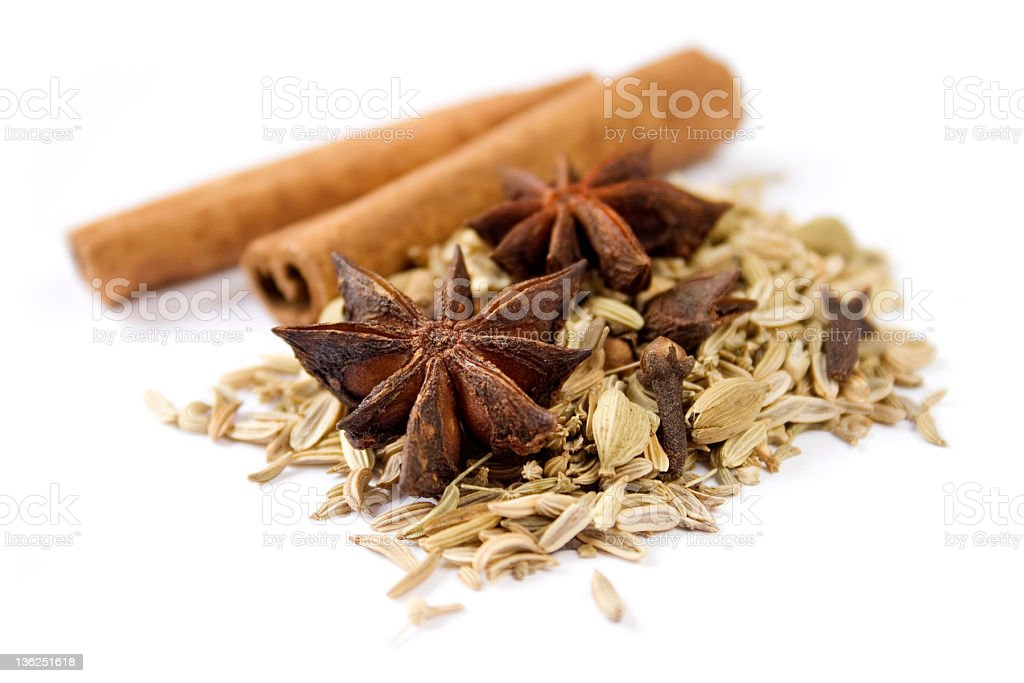 Cinnamon sticks with star anise and fennel seeds royalty-free stock photo