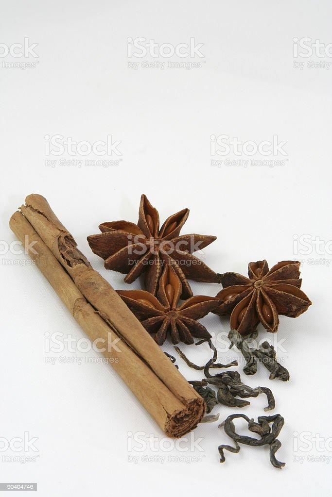 Cinnamon, tea and anise stars royalty-free stock photo