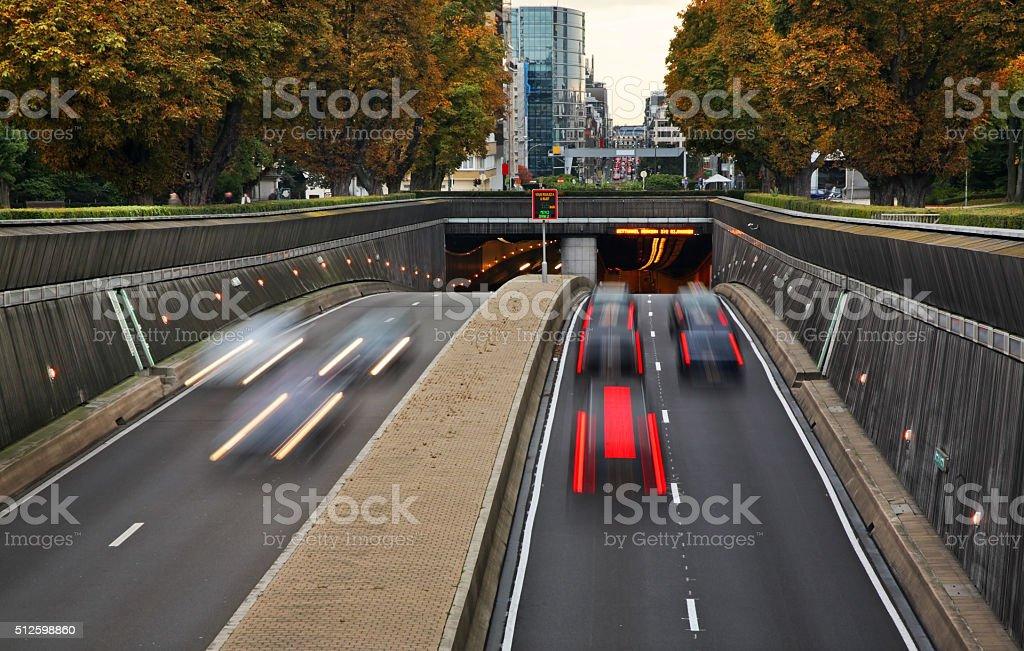 Cinquantenaire tunnel in Brussels. Belgium stock photo
