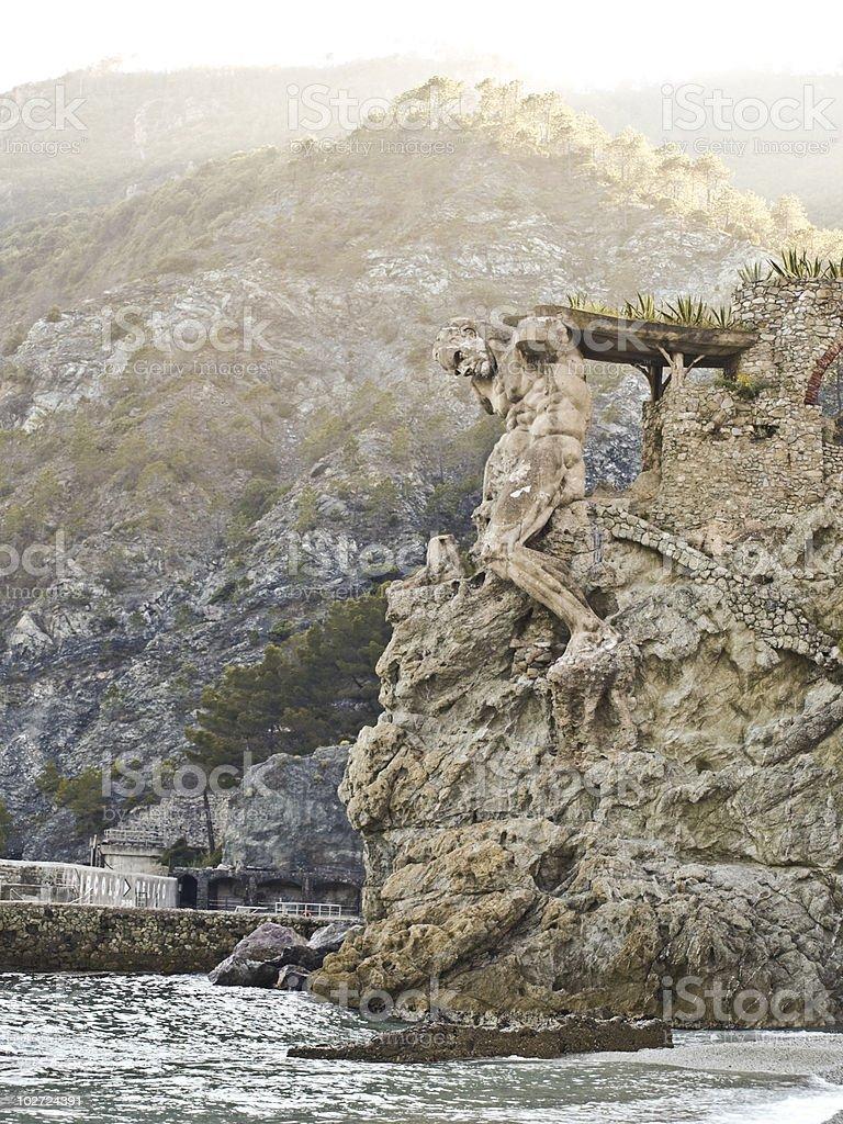 cinque terra italy coast the giant statue royalty-free stock photo