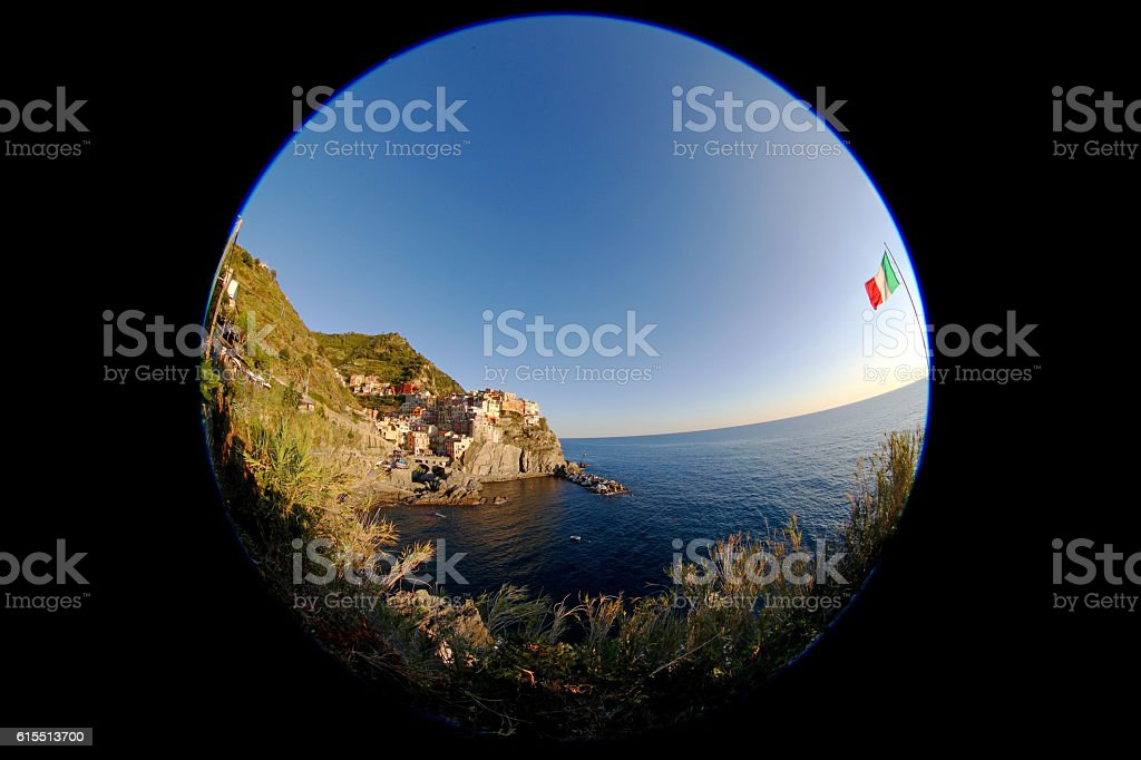 Cinque Terre, Italy, Manarola, fisheye stock photo