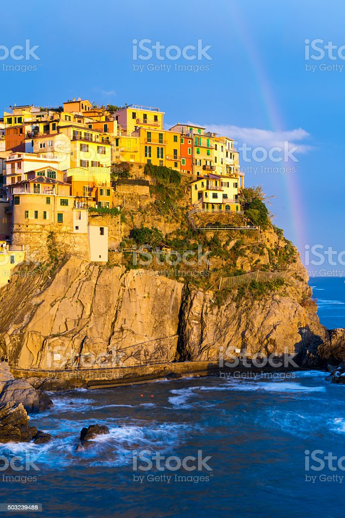 Cinque Terre Italy Town of Manarola at Sunset stock photo