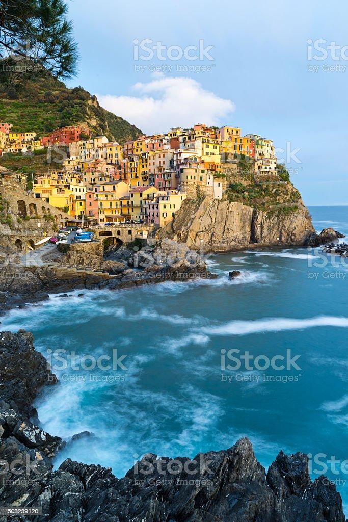 Cinque Terre Italy Town of Manarola stock photo