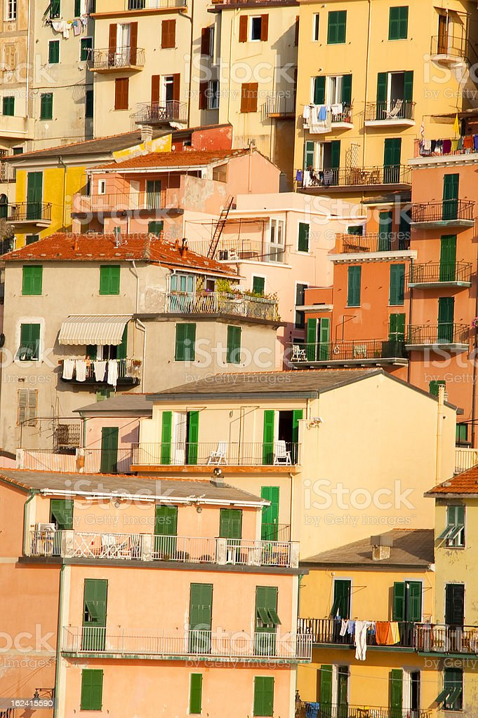 Cinque terre narrow house style in Liguria, Italy stock photo