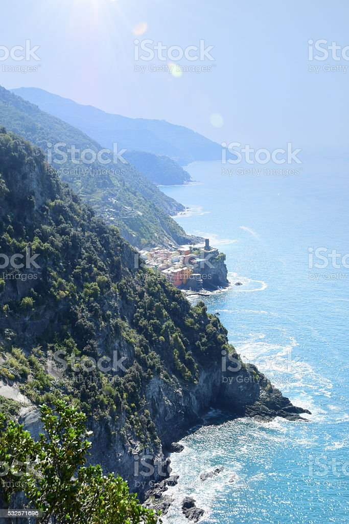 Cinque Terre National Park with View of Vernazza stock photo