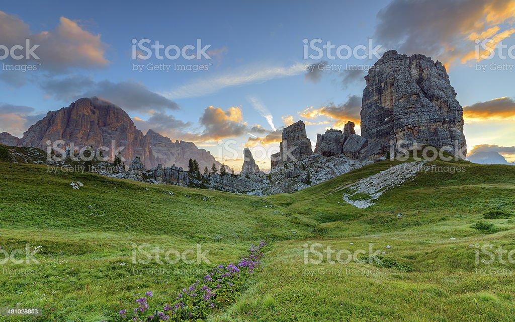 Cinque Torri and Tofane at dawn, Dolomites, Italy stock photo