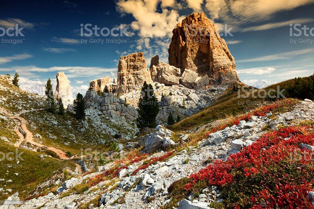 Cinque Torri di Averau, Dolomiti Ampezzane stock photo