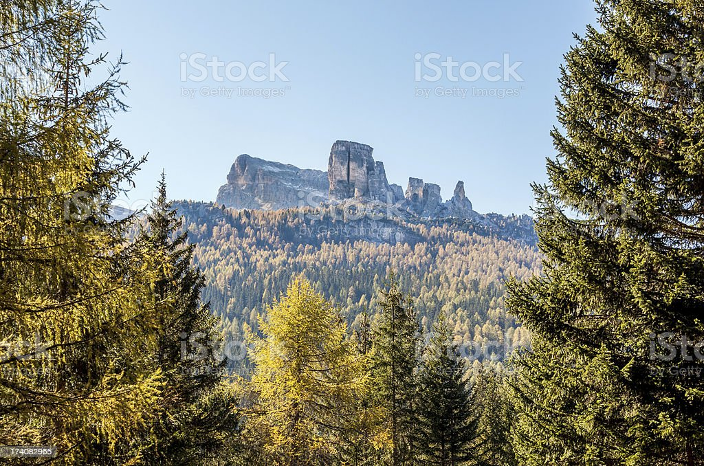 Cinque Torri - Five towers, Dolomites Veneto Italy stock photo