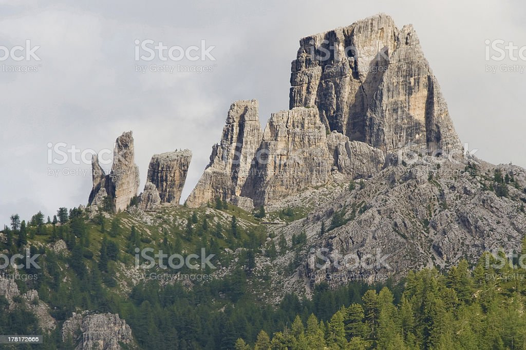 Cinque Torri rock formations royalty-free stock photo