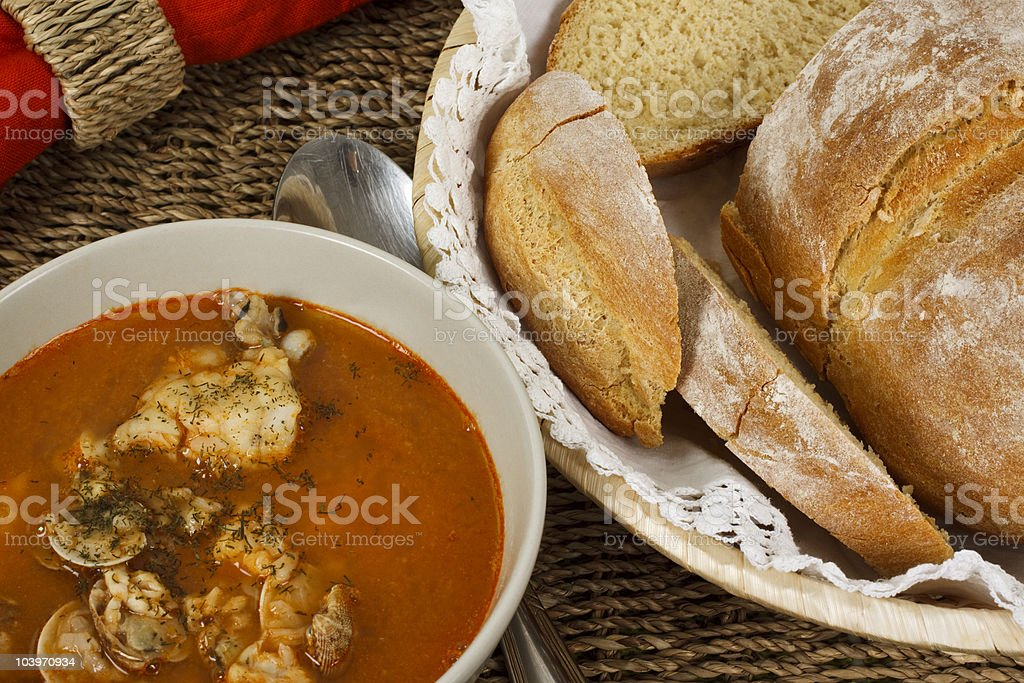 Cioppino, Fish Soup with Seafood and Bread Ready to Eat royalty-free stock photo