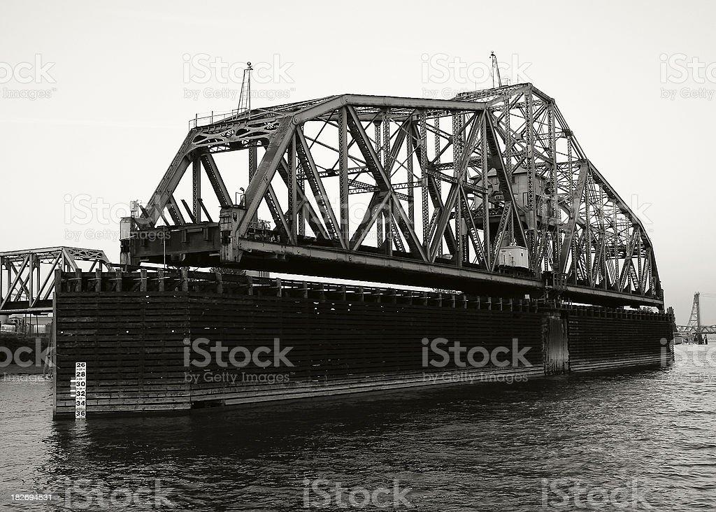 Circa 1908 Railroad Bridge (b&w) stock photo