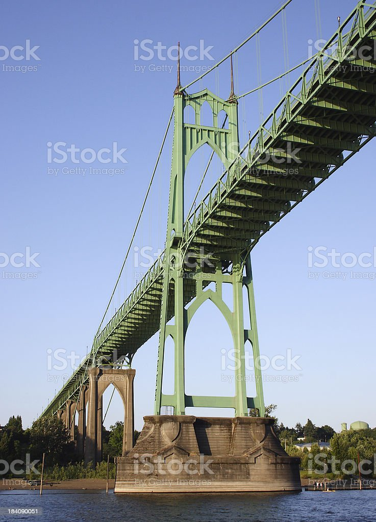 'Circa 1931 - St. John's Bridge in Portland, OR' stock photo