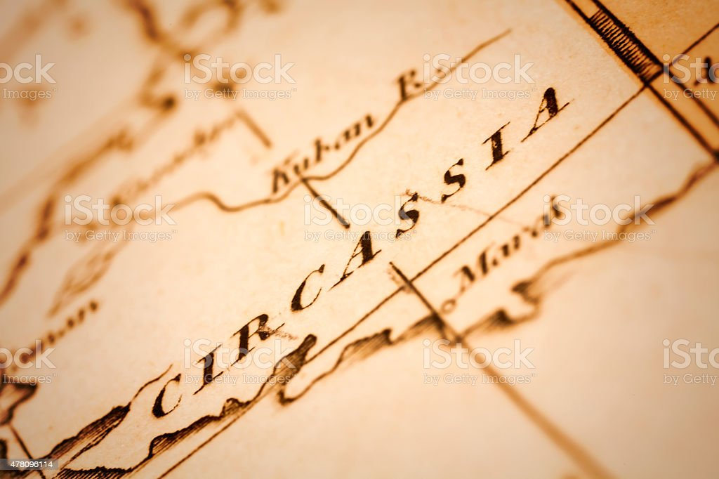 Circassia on an Antique map stock photo