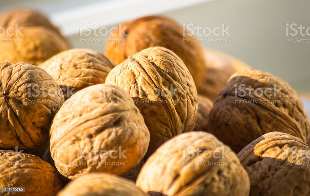 Circassian walnuts in plate stock photo
