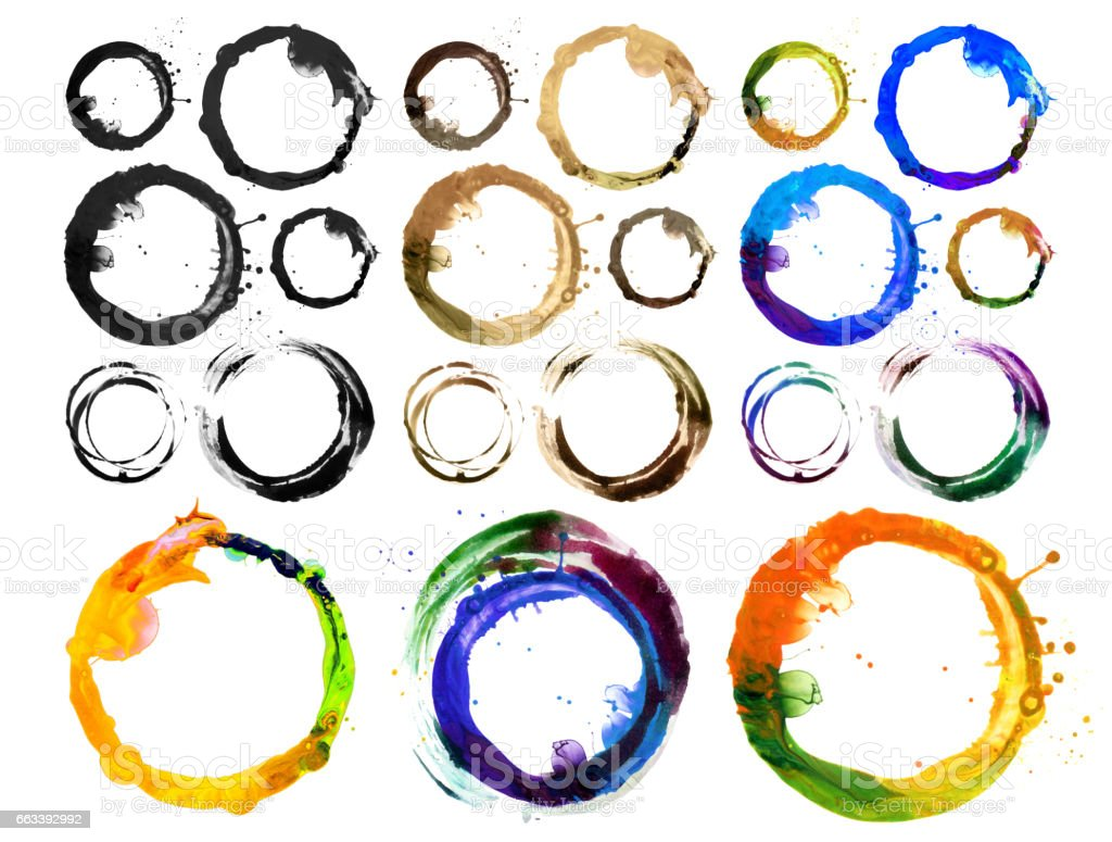 Circle acrylic and watercolor painted design element. Coffee mug blots. Isolated. stock photo