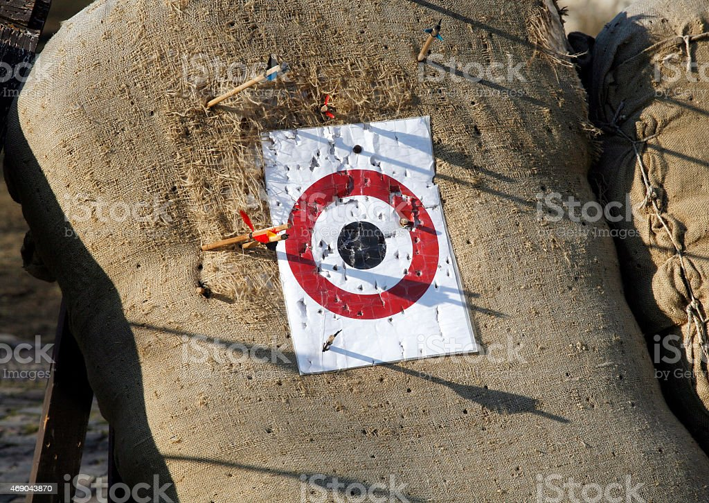 Circle archery target for arrows as a background stock photo
