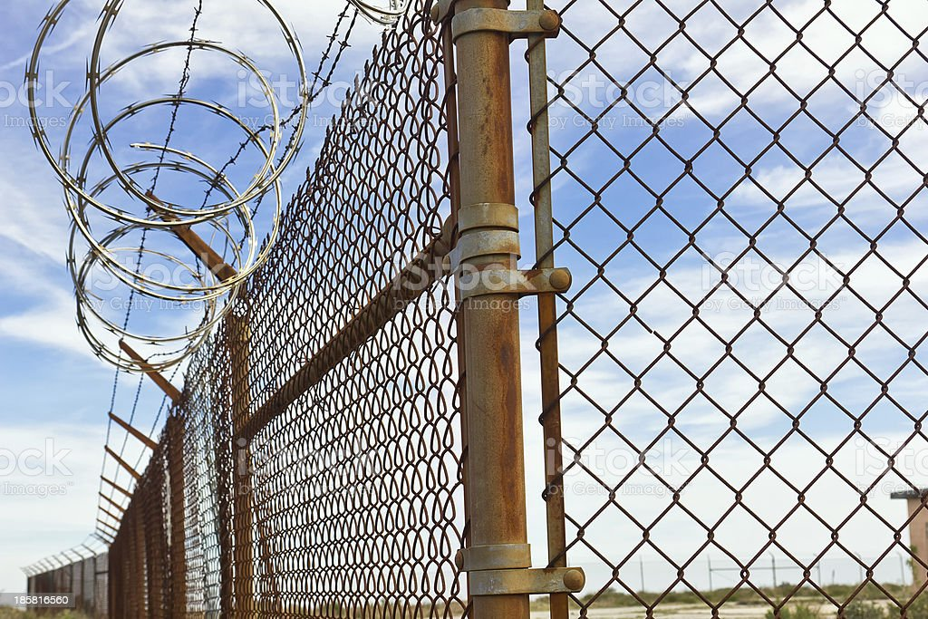 Circle Barb Wire Fence stock photo