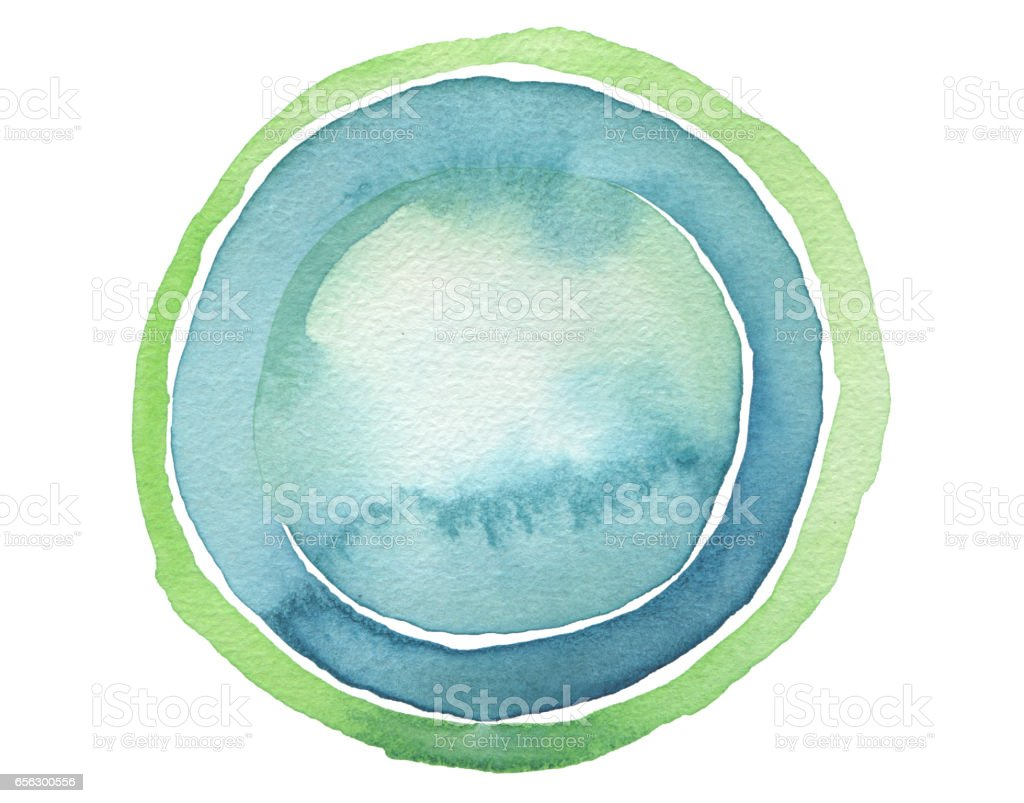 Circle blue watercolor painted button background. Texture paper. Isolated. stock photo