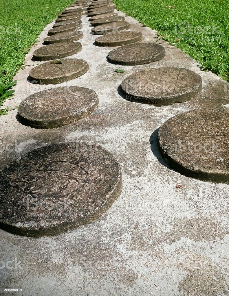 circle concrete walkway stock photo