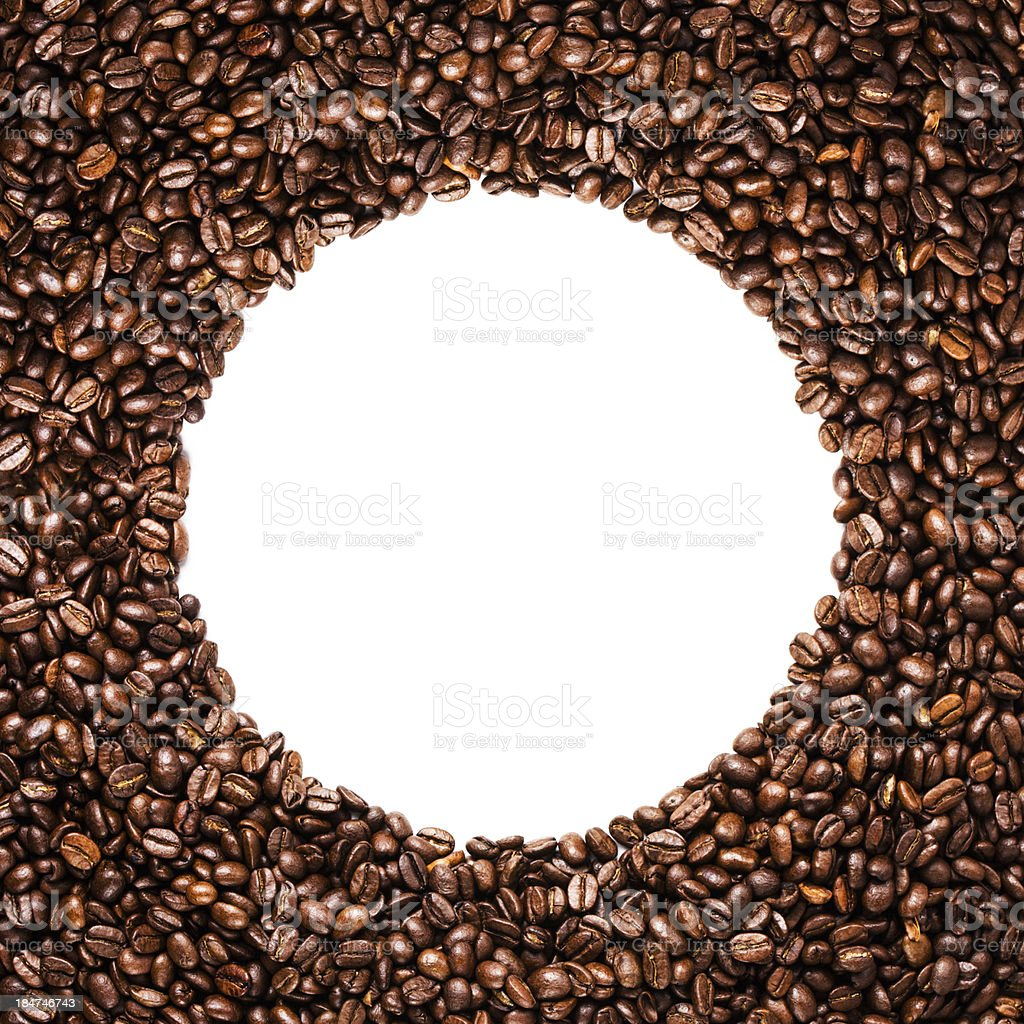 Circle frame of roasted coffee beans isolated on white stock photo