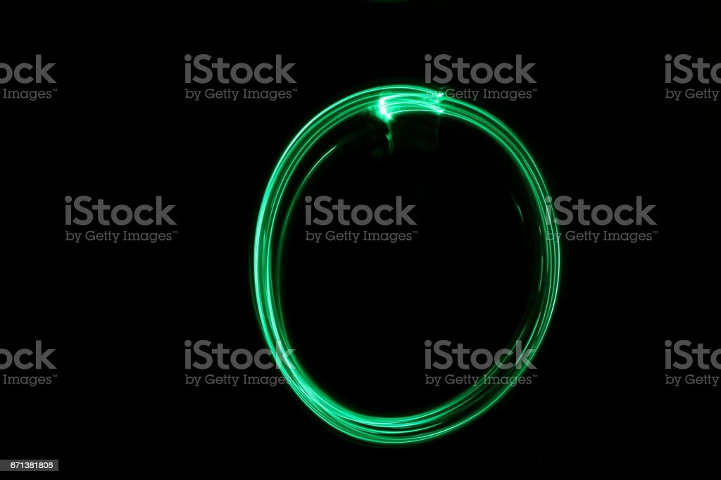 Circle, Green Light Painting Photography stock photo