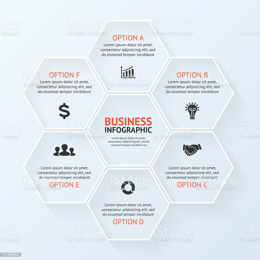 Circle infographic, diagram, presentation 6 options stock photo