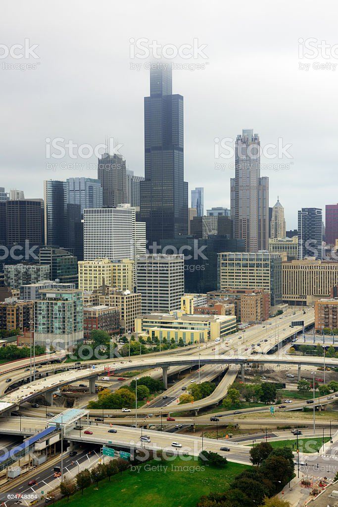 Circle Intersection and Chicago skyscrapers, cloudy day stock photo