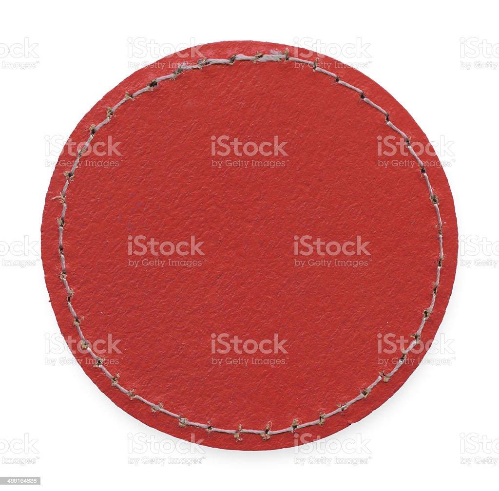 Circle Leather Clothing Label stock photo