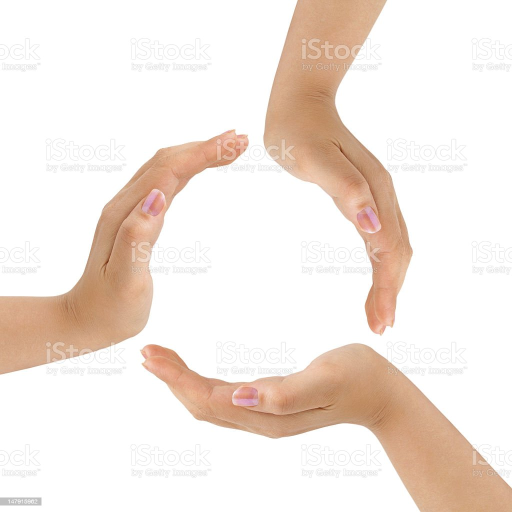 Circle made of hands stock photo