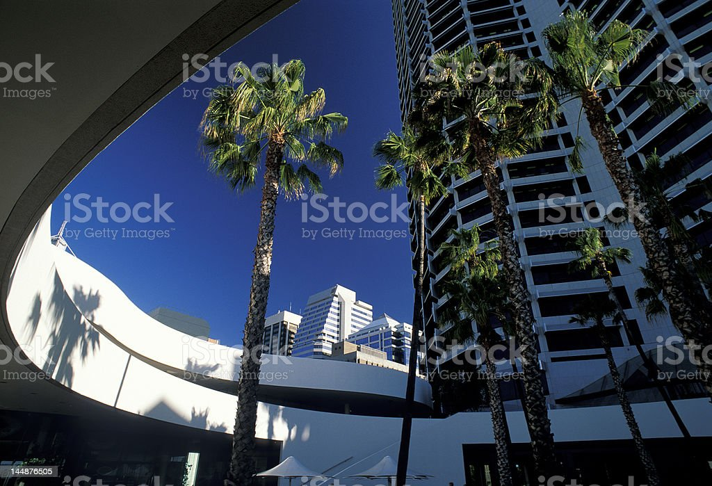 circle modern building with palm royalty-free stock photo