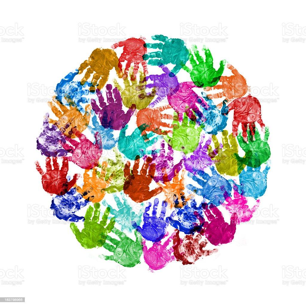 Circle of Baby Handprint stock photo