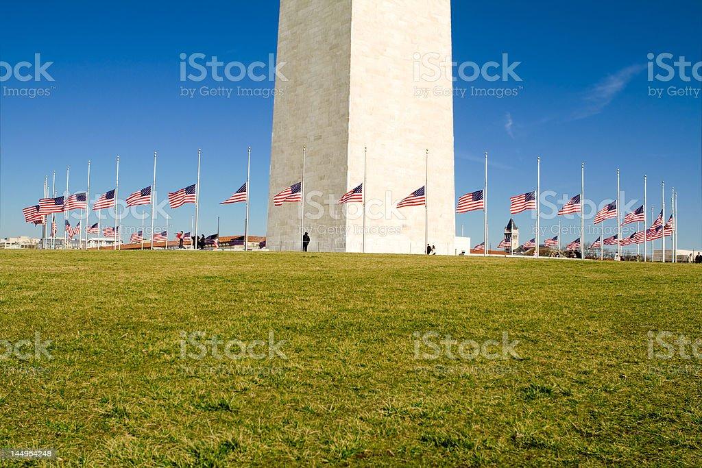 Circle of Flags at Half Mast the Washington Monument stock photo