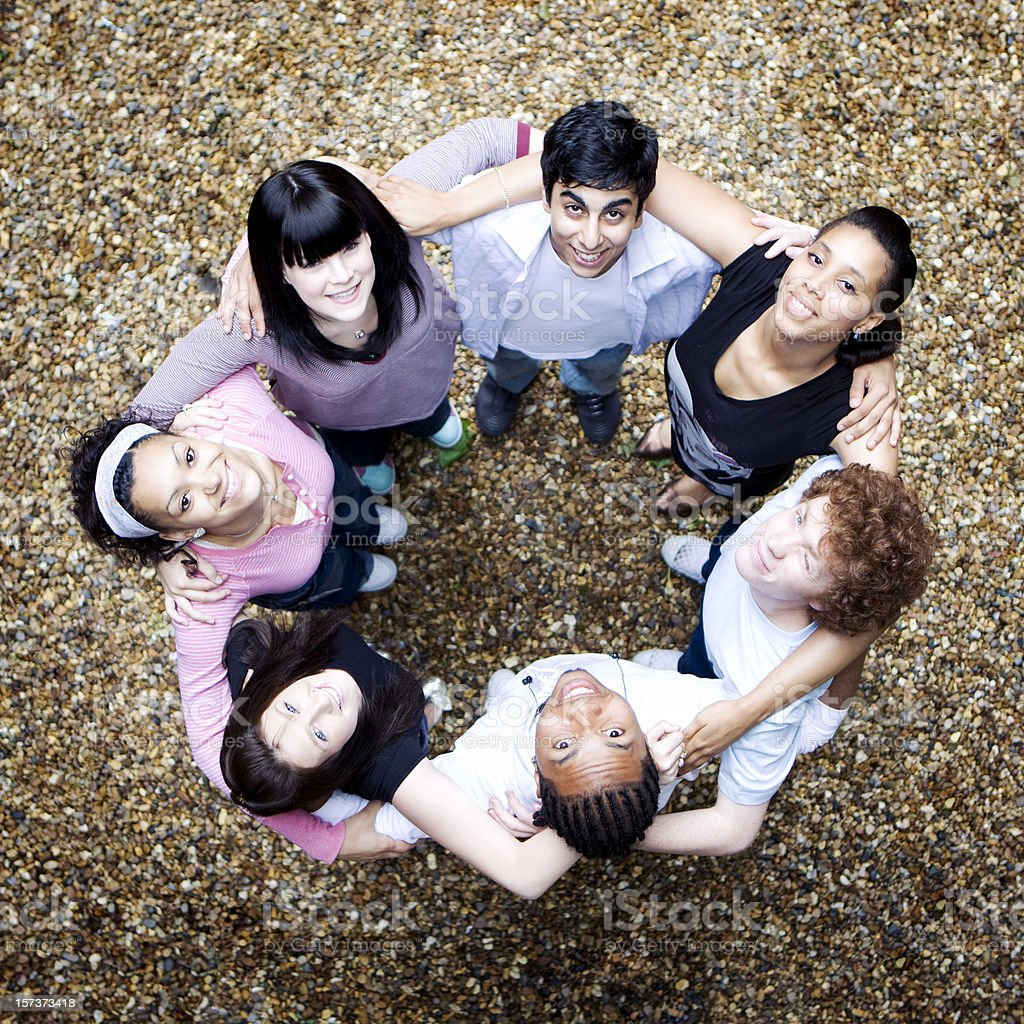 Circle of friends, all teenage students. royalty-free stock photo